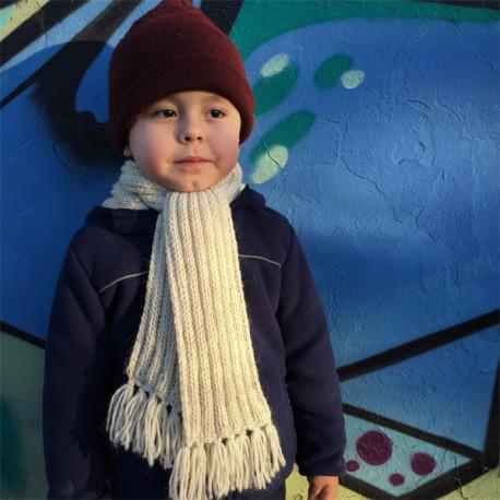 Cachecol infantil de lã 100% alpaca BRANCA