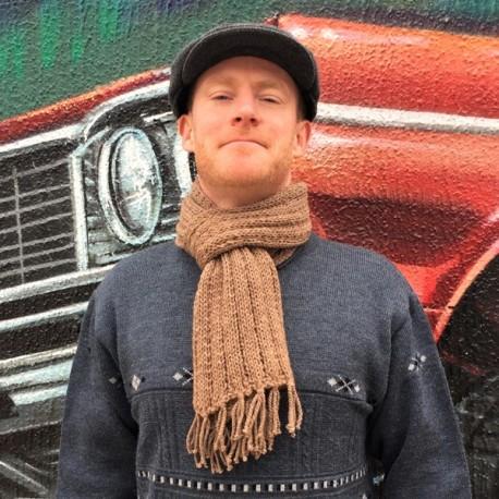 Cachecol de lã 100% alpaca MARROM ROSADO